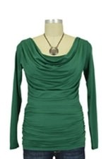 Baju Mama Ava Long Sleeve Cowl Neck Nursing Top (Hunter Green) by Baju Mama