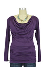 Baju Mama Ava Long Sleeve Cowl Neck Nursing Top (Eggplant) by Baju Mama