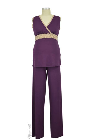 Baju Mama Emma Modal-Lace Sleeveless Nursing PJ Set (Eggplant/Cream Lace) by Baju Mama