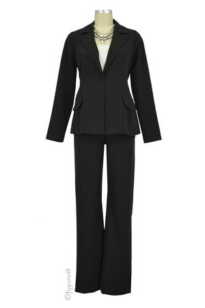 Audrey One Button Blazer & Relaxed Pant - 2-pc Maternity Suit Set (Black) by Maternal America