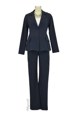 Audrey One Button Blazer & Relaxed Pant - 2-pc Maternity Suit Set (Navy) by Maternal America