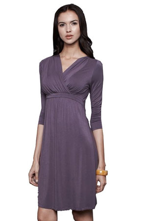 Belle 3/4 Sleeve Nursing Dress (Dark Grey) by Dote