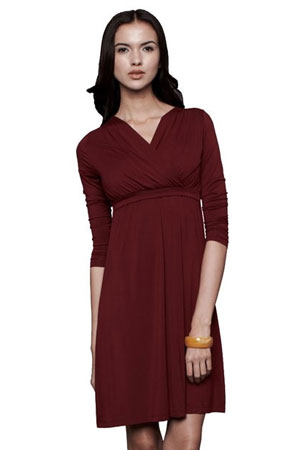 Belle 3/4 Sleeve Nursing Dress (Wine) by Dote