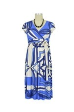 Isla Maternity Dress (Blue & Beige Geometric Print) by Olian