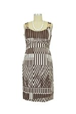 Lizzie D&A Shoulder Slider Nursing Dress (Brown Graphic Print) by Japanese Weekend