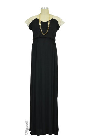 Juliet Maxi Maternity Dress (Black with Cream) by Everly Grey
