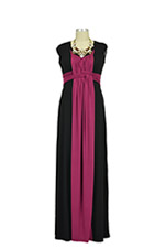 D&A Bamboo Basket Weave Maxi Nursing Dress (Black & Beet) by Japanese Weekend