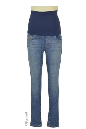 Belly Support Skinny Ankle Maternity Jeans (Stone Wash) by Maternal America