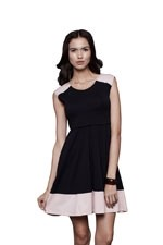 Faye Contrast Swing Nursing Dress (Black & Pink) by Dote