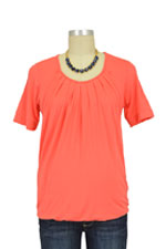 Ester Pleated Short Sleeve Bubble Hem Nursing Top (Nectarine) by MEV