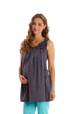 Corsage Nursing Tunic (Heather Charcoal) by Mothers en vogue