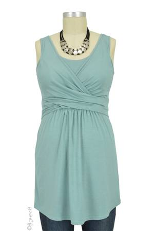 Ava Sleeveless Wrap Nursing Top (Teal) by MEV