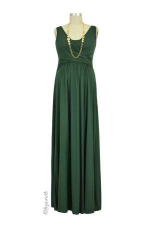 Ava Sleeveless Wrap Maxi Nursing Dress (Myrtle Green) by MEV