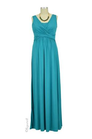 Ava Sleeveless Wrap Maxi Nursing Dress (Harbour Blue) by MEV