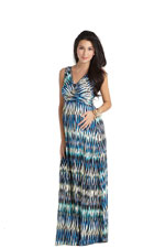 Ava Sleeveless Wrap Maxi Nursing Dress (Chevron Print) by MEV