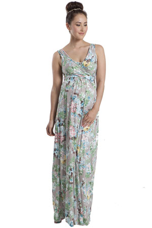 Ava Sleeveless Wrap Maxi Maternity & Nursing Dress (Jardine Taupe Print) by Mothers en Vogue