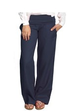 Weekender Linen Maternity Pants (India Ink) by Mothers en vogue