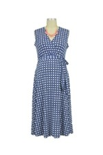 Adriana Sleeveless Faux Wrap Maternity Dress (Navy Basket) by Leota Maternity