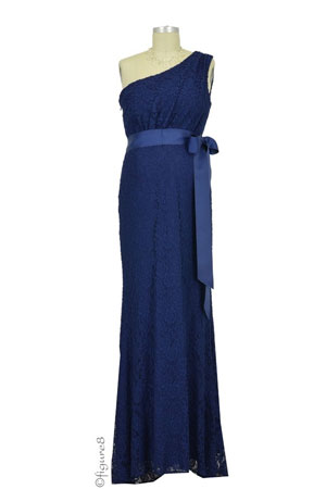 Evelyn One-Shoulder Lace Maternity Gown with Sash by Love My Belly