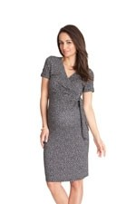 Seraphine Renatta SS Faux Wrap Maternity Dress (Navy Dot) by Seraphine