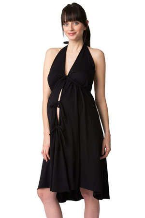 Pretty Pushers Women's Cotton Jersey Labor Gown- Plus Size (Black) by Pretty Pushers