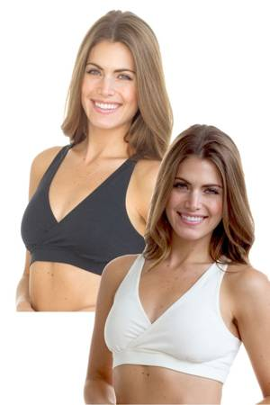 Majamas Organic Padded Sporty Bra - 2 Pack (Black & Ivory) by Majamas