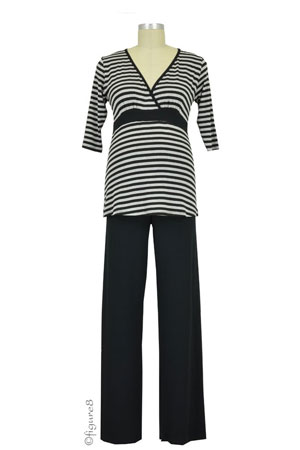 Baju Mama Jane 3/4 Sleeve Nursing PJ Set (Heather Grey/Black Stripe) by Baju Mama