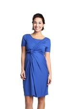 Levina Nursing Wrap Dress (Blue) by Spring Maternity
