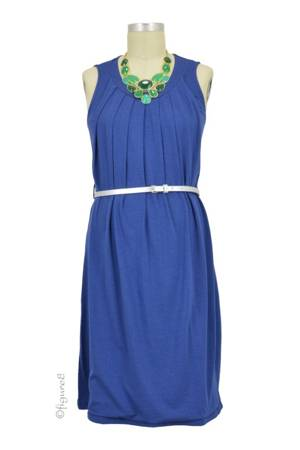 Spring Maternity Liv Pleated Nursing Dress (Navy with Silver Belt) by Spring Maternity