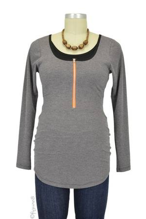 Molly Ades Long Sleeve Zippered Nursing Top (Charcoal Waffle Knit) by Molly Ades