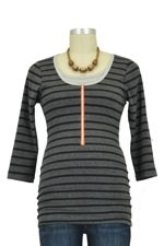 Molly Ades 3/4 Sleeve Zippered Nursing Tee (Black & Charcoal Stripes) by Molly Ades