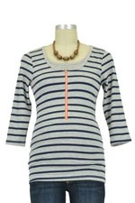 Molly Ades 3/4 Sleeve Zippered Nursing Tee (Navy & Heather Stripes) by Molly Ades