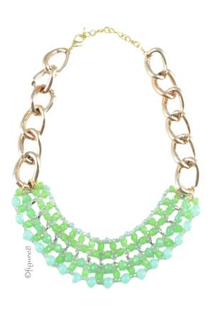 Katie Green Chain Necklace (Green) by Jewelry Accessories