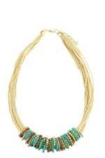 Marisol Gold Detailed Necklace (Turquoise) by Jewelry Accessories