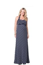 Ingrid & Isabel Stripes Convertible Maxi Maternity Dress (Navy Stripes) by Ingrid & Isabel