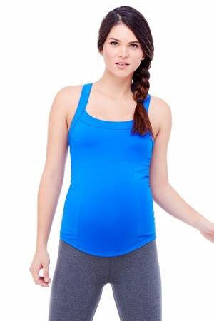 Ingrid & Isabel Racerback Active Maternity Tank (Royal) by Ingrid & Isabel