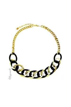Anita Gold and Black Chain Link Necklace (Gold and Black) by Jewelry Accessories