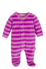 Magnificent Baby Girl's Velour Footie (Pink/Lavender Stripes) by Magnificent Baby