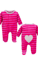 Magnificent Baby Girl's Velour Footie with Applique (Hot Pink/Berry Stripes) by Magnificent Baby