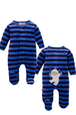 Magnificent Baby Boy's Velour Footie with Applique (Midnight/Sky Stripes) by Magnificent Baby