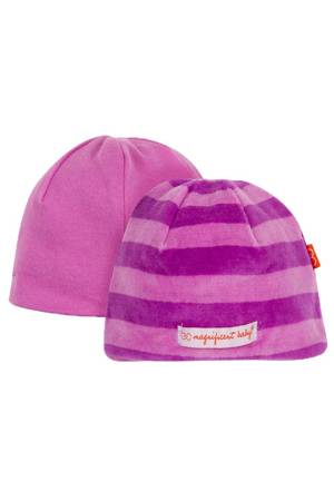 Magnificent Baby Reversible Baby Girl Velour Cap (Pink/Lavender Stripes) by Magnificent Baby
