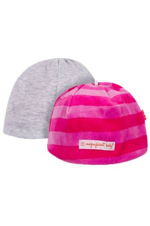 Magnificent Baby Reversible Baby Girl Velour Cap (Hot Pink/Berry Stripes) by Magnificent Baby