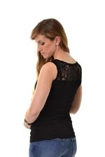 Jenna Lacey Back Nursing Top (Black with Lace) by Peek-a-boo