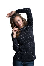 Boob Design Organic Knitted Nursing Sweater with Dots (Black/Off White Dot) by Boob Design