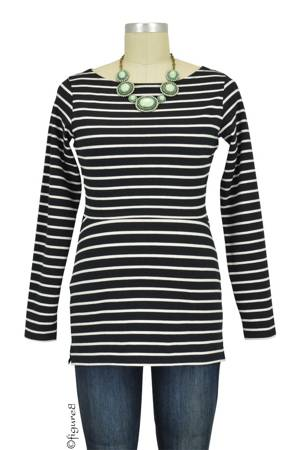 Boob Design Simone Long Sleeve Organic Nursing Top (Black & Off-White Stripes) by Boob Design