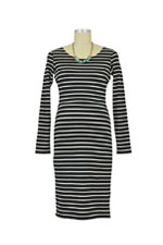 Boob Simone Nursing Dress (Black/Off White Stripe) by Boob