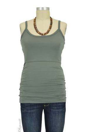 Boob Design Leah Ruched Nursing Singlet (Khaki) by Boob Design