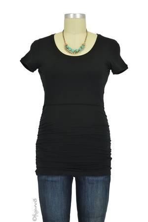 Boob Design Short Sleeve Ruched Nursing Top (Black) by Boob Design