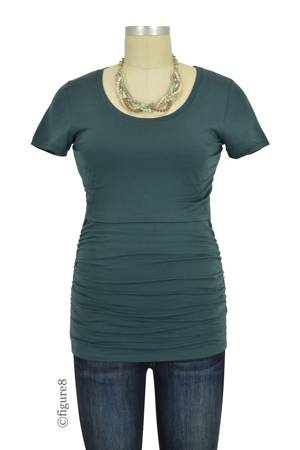 Boob Design Short Sleeve Ruched Nursing Top (Teal) by Boob Design