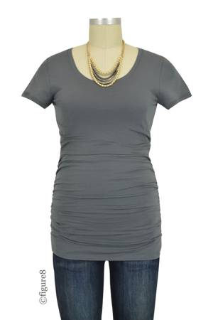 Boob Design Short Sleeve Ruched Nursing Top (Elephant) by Boob Design